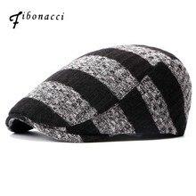 Fibonacci casual moda rayas tejer lana Boinas plana sombrero para hombres  mujeres Boinas(China) 9fc4b1aa19a