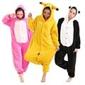 Unisex ropa de Dormir Pijamas de Las Mujeres Conjuntos de Pijama de Franela de Dibujos Animados Lindo Panda Animal Pijamas Conjuntos de Pijamas de Invierno Homewear Pikachu Stitch