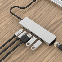 6 in 1 USB C to HDMI Multi port Hub Adapter Type c Adapter with HDMI 4K USB 3.0 PD Charging Fast Charger|  -