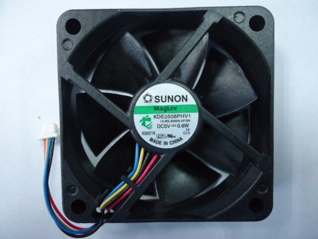 Originele Sunon 6Cm Kde0506phv1 6015 5V 0.6W 60*60*15Mm 4 Draden Pwm Maglev koelventilator