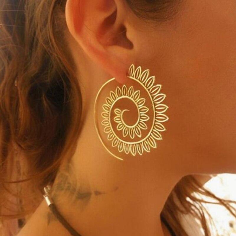E0447 Ethnic Jewelry Swirl Hoop Earring For Women Brincos Gold Color Geometric Earrings Steampunk Style Statement Party Jewelry