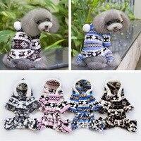 S-XXL Mềm Pet Dog Jumpsuit Puppy Cát Quần Áo Fleece Leopard Print Costume Coat Jumpsuit Hoodies