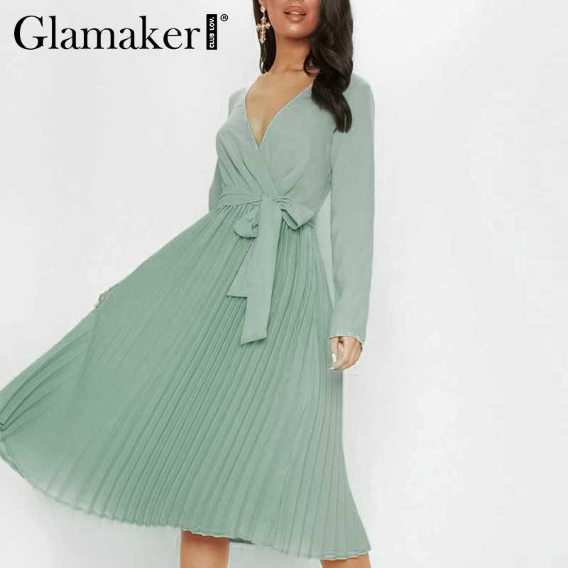 Glamaker плиссированные женские с v-образным вырезом черное элегантное платье миди женские сексуальные длинные вечерние летнее платье для вечеринок праздничные летние зеленые пляжные платья