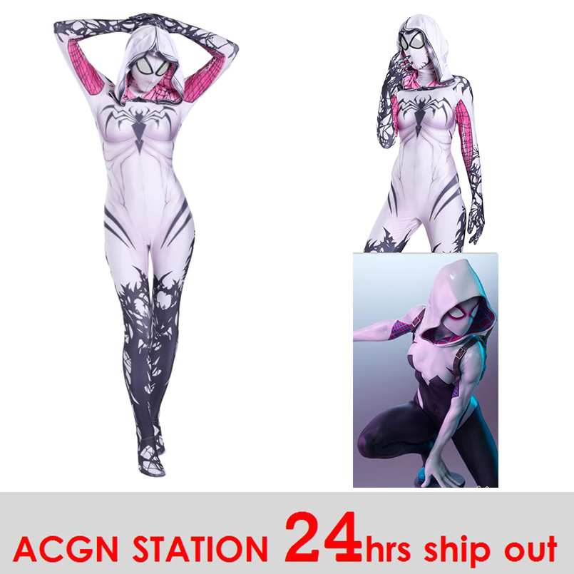 Women Spider-Gwen Cosplay Costumes Spandex White Black Spider-Gwen Hoodies with Headgear Costumes Suitable for Halloween 24 Hrs