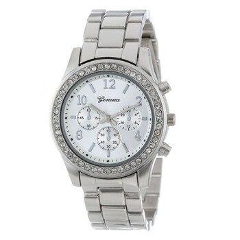 ¡Moda 2018! reloj con cristales redondos clásicos chapados en cuarzo y cronógrafo de imitación para mujer y hombre