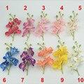 Mini 17 cm butterfly orquídea artificial de seda buquê de flores com pedúnculo que vivem sala de café mesa de jantar arranjos de flores