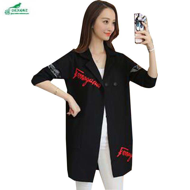 OKXGNZ Spring Women Clothing 2020 Korea New Fashion Big Yards Leisure Coat Knitting Cardigan Medium Long Suit Coat QQ113