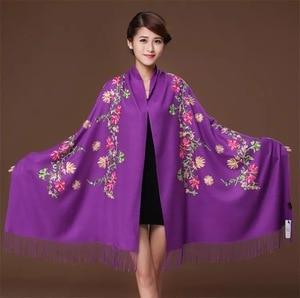 Image 2 - New embroidery Flowers scarf women Cashmere cotton viscose shawls soild plain embroider scarfs muslim tassels hijabs GP02