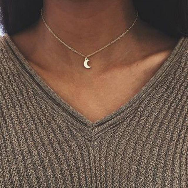 Cute Small Moon Pendant Necklace for Women Gold Color Chain Choker Necklace Bohe