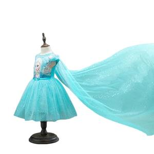 2020 New Anna Elsa Dress Kids Princess Party Costume Cosplay Snow Queen Fantasy Baby Girls Dresses + Cape Vestido infantil