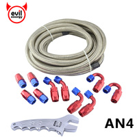 evil energy 5M AN4 Stainless Steel Braided Oil Hose Line+AN4 Fuel Fittings Hose End +AN Adjustable Spanner Car Modified Parts