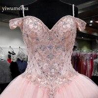 Vestido de 15 anos дебютантка Сладкие 16 Платья розовый сшитое Кристаллы Бисер пышное платье vestidos de 15 anos платье