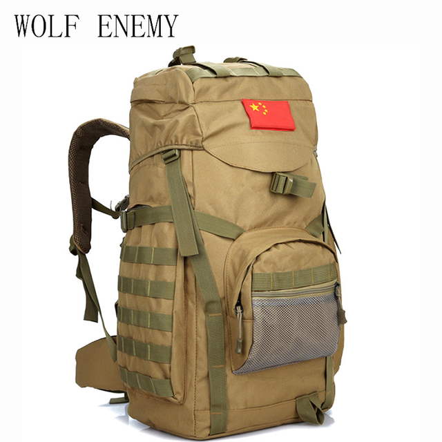 f8dc689b5326 US $39.85 49% OFF Molle 60L Camping Rucksack Tactical Military Backpack  Large Waterproof Backpacks Camouflage Hiking Outdoor Shoulder Bag-in  Climbing ...