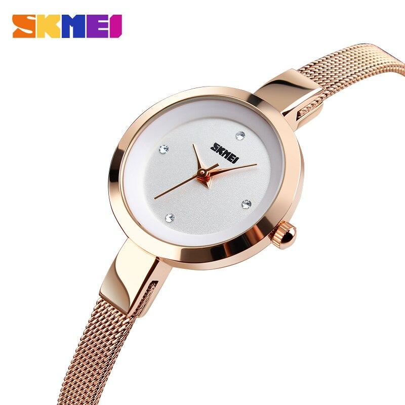 2018 New Fashion SKMEI Luxury Ladies Watch Women Watch Stainless Steel Thin Strap Female Quartz Wristwatch Relogio Feminino стоимость