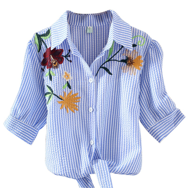 Women Loose  Blouse Casual Wild Embroidery Flowers Short Sleeves Striped Shirt Women Tops