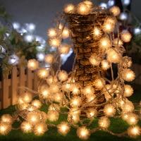 10 מטר 80 יחידות נוריות כדור שלג חג המולד led מחרוזת אור, מפלגת אור נייד, סוללת aa, קישוט גינה חיצונית
