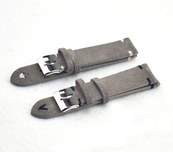 Correas de reloj Retro de cuero genuino para hombre y mujer, 18mm, 20mm, 22mm, 24mm, accesorios para Hebilla de Metal KZSD05