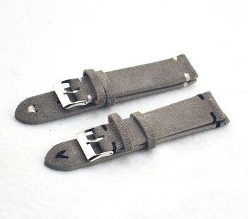 Correas de reloj Retro de cuero genuino para hombres y mujeres 18mm 20mm 22mm 24mm suave correa de reloj de ante de Metal accesorios con hebilla KZSD05