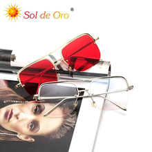 SOL DE ORO Unisex Metal Half Frame Sunglasses Square Double Beam Sunglasses Trendy Ocean Sheet Flat Light Mirror стоимость