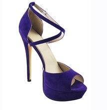 2016 Peep Toe Cover Heel Platform High Heel Shoes Cross Strap Sandals Mysterious Purple High Heel Woman Shoes Free Shipping