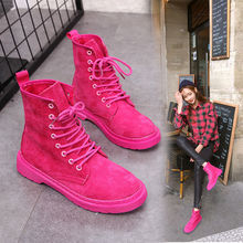 Botas rojas de Otoño e Invierno para mujer, botas Vintage de moda para el viento para mujer, botas Ins, botas de Invierno para mujer
