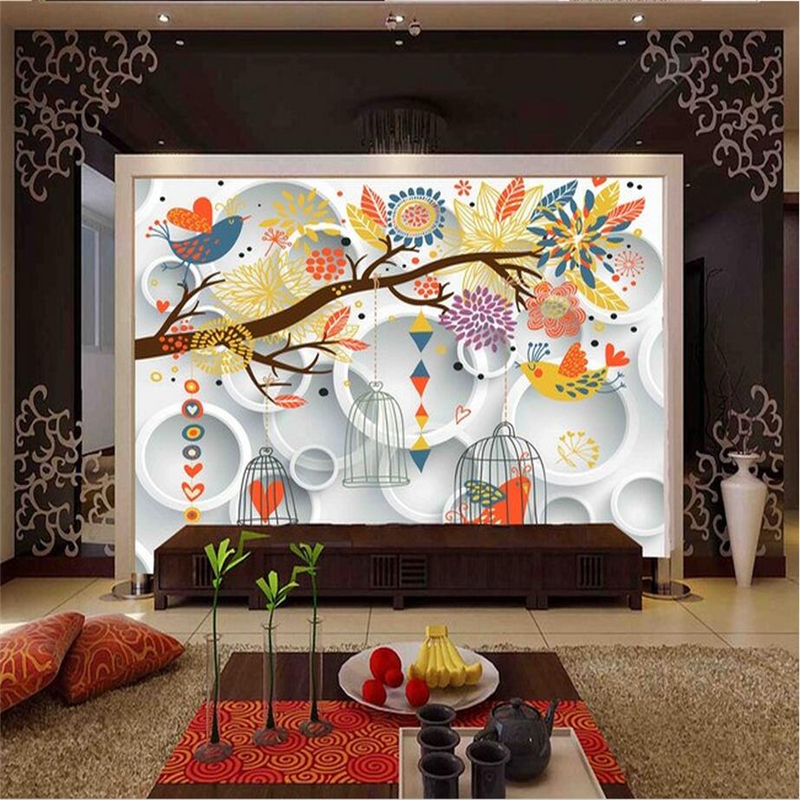 3D Living Room Wall Stickers Simple Cartoon Photo Murals Cute Birdcage Kids Wall Papers Colored Circle Wallpapers for Bedroom cartoon birdcage wall stickers for kids room kindergarten decor
