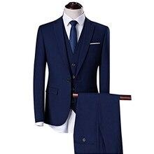 Blue Business Formal Men Suits Notched Lapel Slim Fit Custom Wedding Groom Tuxedos 2018 Three Piece Jacket Pants Vest Blazer
