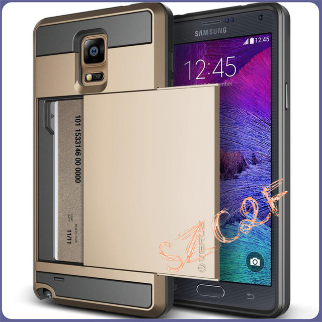 newest 4ed1f 20f37 US $3.59  Note 4 Outer Casing Luxury Hybrid Armor Case For Samsung Galaxy  Note4 Note 4 N9100 Slider Back Cover Case with Credit Card Slot-in Fitted  ...