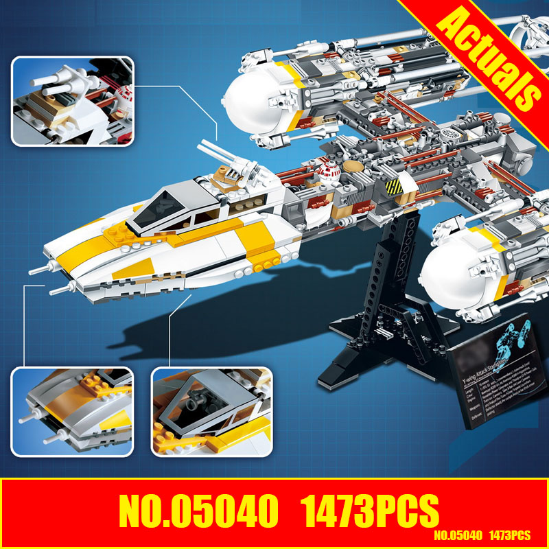 Lepin 05040 Star Series Wars Y Star wing Attack fighter Building Assembled Block Brick DIY Toy Compatible 10134 Educational Gift lepin 05040 star wars y wing attack starfighter model building kits blocks brick toys compatiable with lego kid gift set