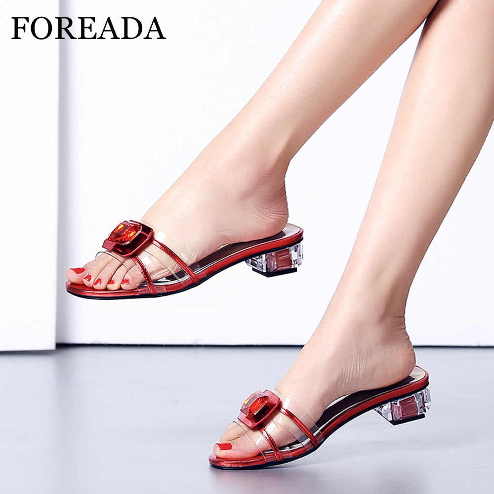 FOREADA Women Slides Summer Shoes Transparent Square Heels Shoes Rhinestone Open Toe Slippers Ladies Sandals Red