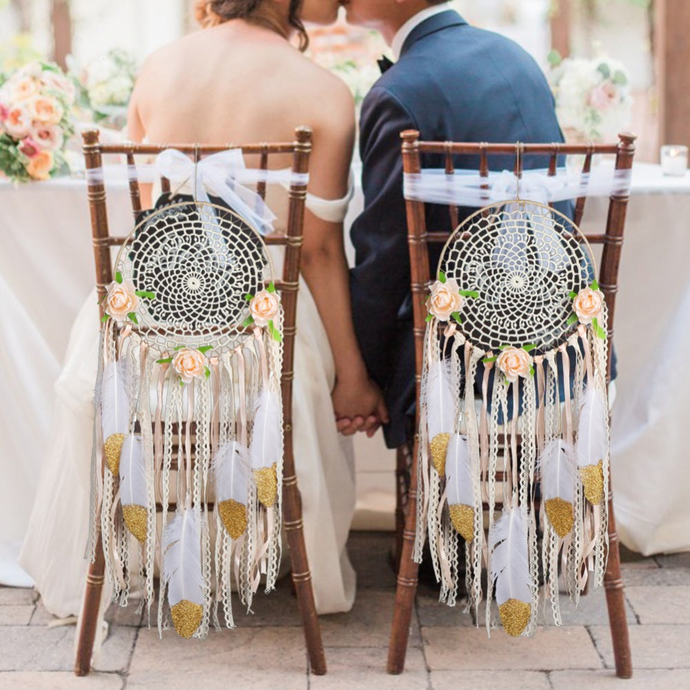 OurWarm Boho Wedding Decoration DIY Dream Catcher Wall Hanging Decoration Home Wedding Party Supplies DIY Craft Kits Chair Sign