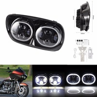 LED Dual Headlight with Halo Ring Angel Eye for For 04 13 Harley Road Glide