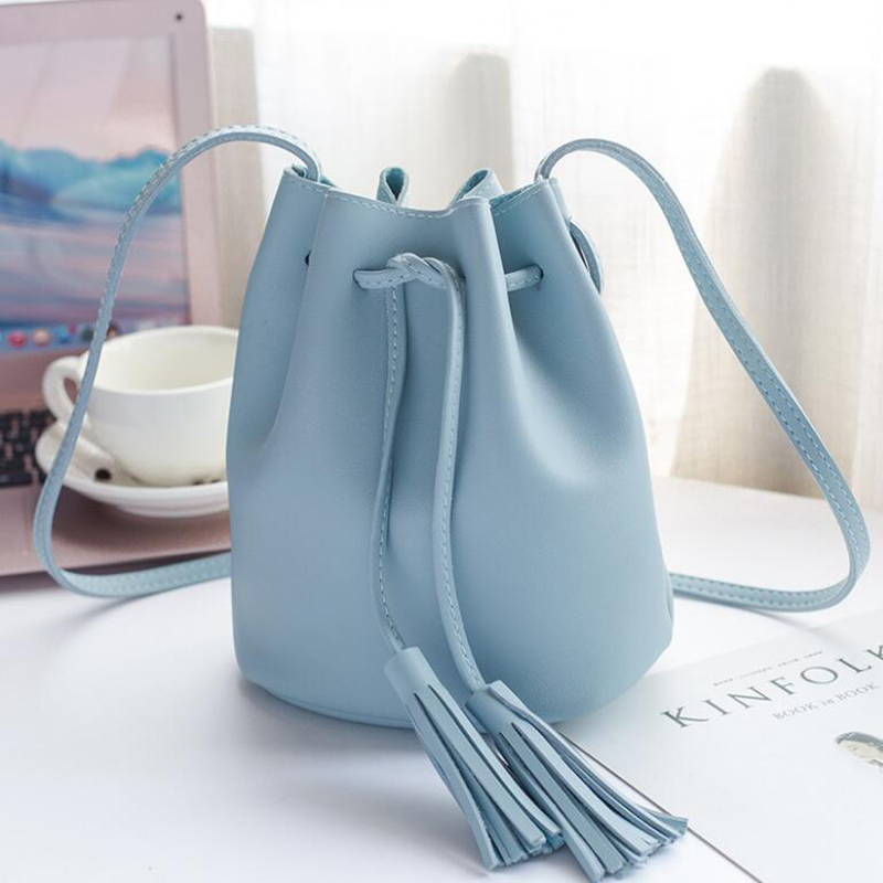 Women bag PU Leather Lady Bucket Bag Women PU Leather Shoulder Bags Brand Designer Ladies messenger Bags Crossbody in Top Handle Bags from Luggage Bags