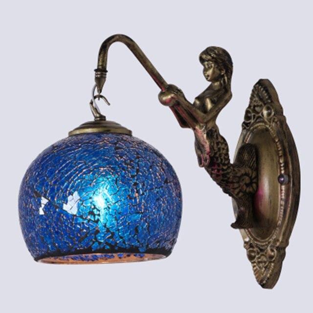Mermaid Mirror Light Fashion Rustic Wall Lamp Tiffany Baroque Mediterranean  Bohemia Wall Lamp E27 Lamp Holder