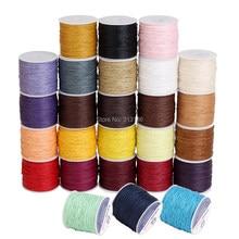 Cordón de algodón encerado de 50 colores, carrete de cuerda de rosca de 1mm, compatible con cuentas artesanales, pulsera, collares, accesorios de joyería, 100 yardas
