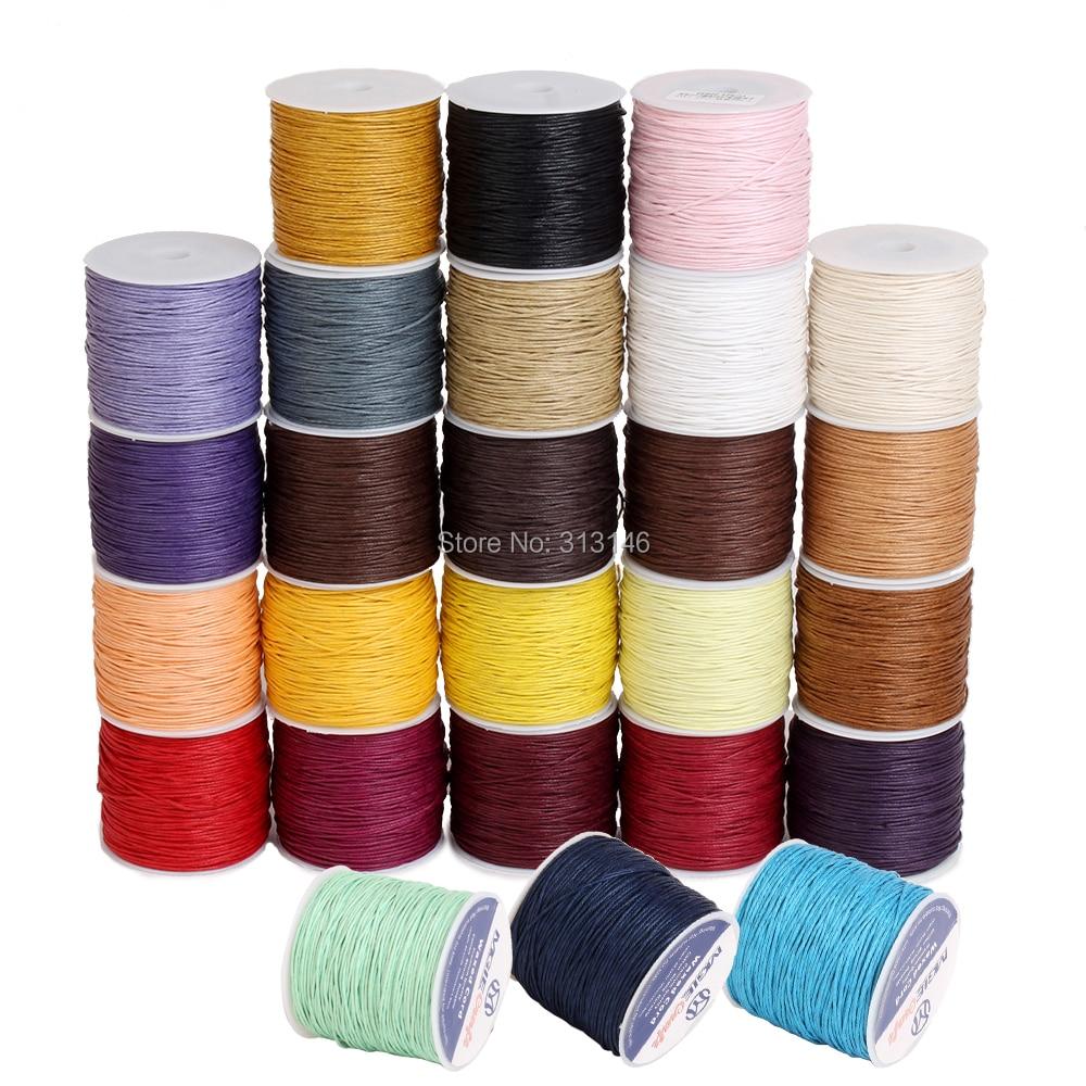 50 farben 100 yards Gewachste Baumwolle Schnur 1mm Faden Schnur Seil Spool Draht fit Perlen Handwerk DIY Armband Halsketten schmuck Erkenntnisse