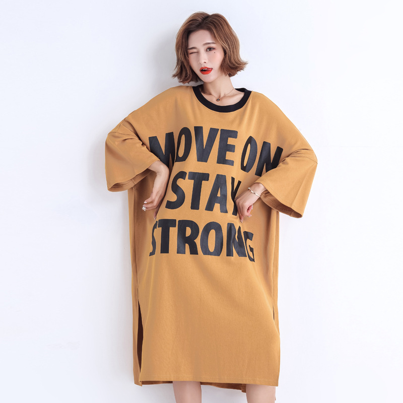 Oversized T Shirt Dress for Woman 2019 Korean Edition Short Sleeve O-neck Casual Loose Letter Print