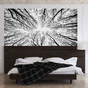 Image 1 - שחור ענפי עץ 3D ראש המיטה קיר מדבקת חדר השינה מיטת המיטה ויניל בית תפאורה