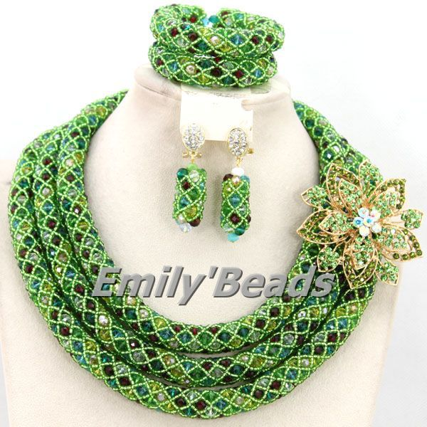 Splendid Colorful Nigerian Wedding African Beads Crystal Beads Jewelry Set Bridal Necklace Jewelry Set 2015 NEW AMJ136 splendid nigerian wedding beads vintage classic jewellry set choker necklace set african women bridal jewelry set