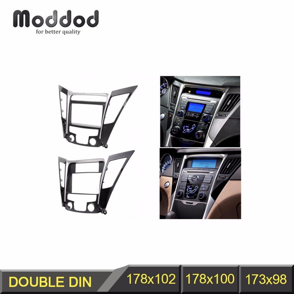 Pour HYUNDAI Sonata YF 2010 + Radio CD DVD panneau Audio garniture de montage de tableau de bord Kit de réaménagement Fascia Face Surround cadre lunette Double Din