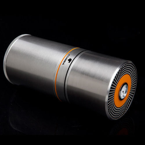 Cigar Case Metal Round Humidor with Hydrating Jar Tube