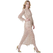 Syoovaa Elegant Sequin Tassel Maxi Split Dress Women Evening Party Spring Dress Sexy Mesh Long Dress V Neck Vestidos