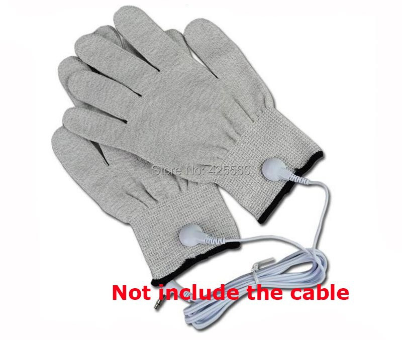 2 Pairs Conductive Slivery Fiber Electrode Massage Gloves Use For TENS/EMS Unit Physical Therapy