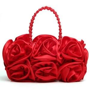 Image 3 - Boutique de fgg flor vermelha rosa bush mulher cetim noite bolsa frisada alça totes bolsa de casamento nupcial embreagem
