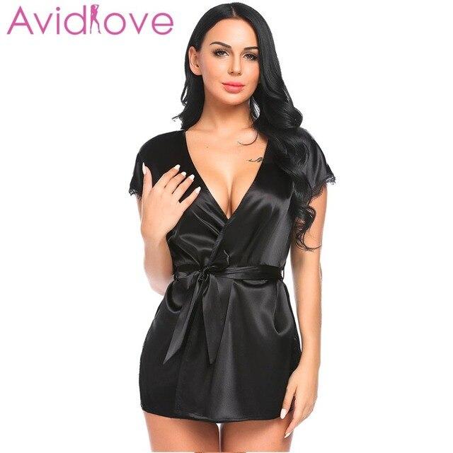 Avidlove Sleepwear Dress Homewear Nightdress Belt Robe Sexy Sleeve Lace  Satin Women Lingerie Short Split Trim Nightgown e9d5f154b