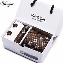 Drop Shipping Brand New Male Tie Set Necktie Silk Handmade Classic Dress Gift Box Packing Blue Dots