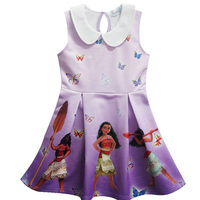 2017 Summer Moana Princess Dress European Cartoon Baby Girls Dresses 2 10 Years Children Pearl Party