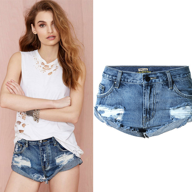 Olrain Hot 2016 New  Boyfriend Style Women Loose Ripped Hole Curling Denim Jeans Shorts Beachwear Plus Size