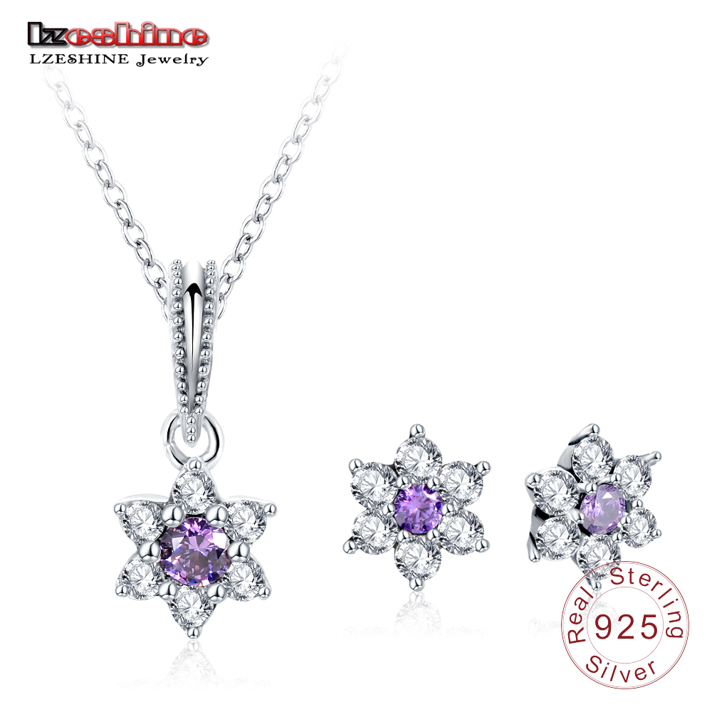 LZESHINE Purple CZ Flower Pendant Earrings Set For Women Luxury Crystal Floral Jewelry Sets 925 Sterling Silver Jewelry PSST0049 все цены