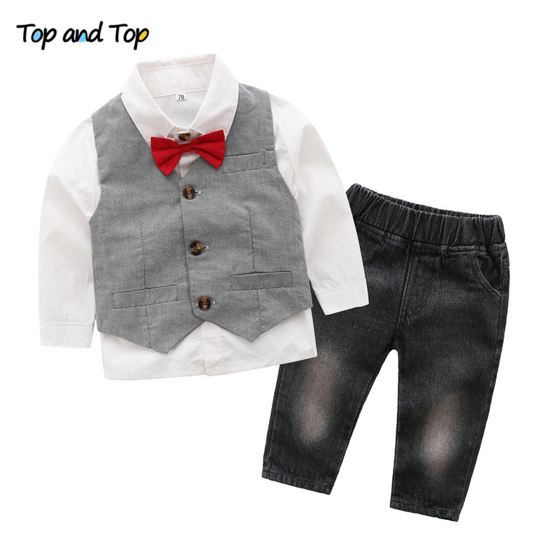 Infant Baby Boy Dinosaur Gentleman Bow Shirt Romper+Suspender Pant Outfit Set WH